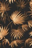 detail image of the Va Va Frome Noir Black Wallpaper by Pearl Lowe gold tones tropical leaves on black background