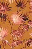 detail image of the Va Va Frome Sunset Wallpaper by Pearl Lowe pink toned topical leaves on burnt orange background