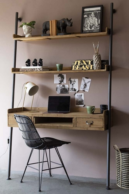Industrial Style Desk Unit With 2, Desk And Shelves