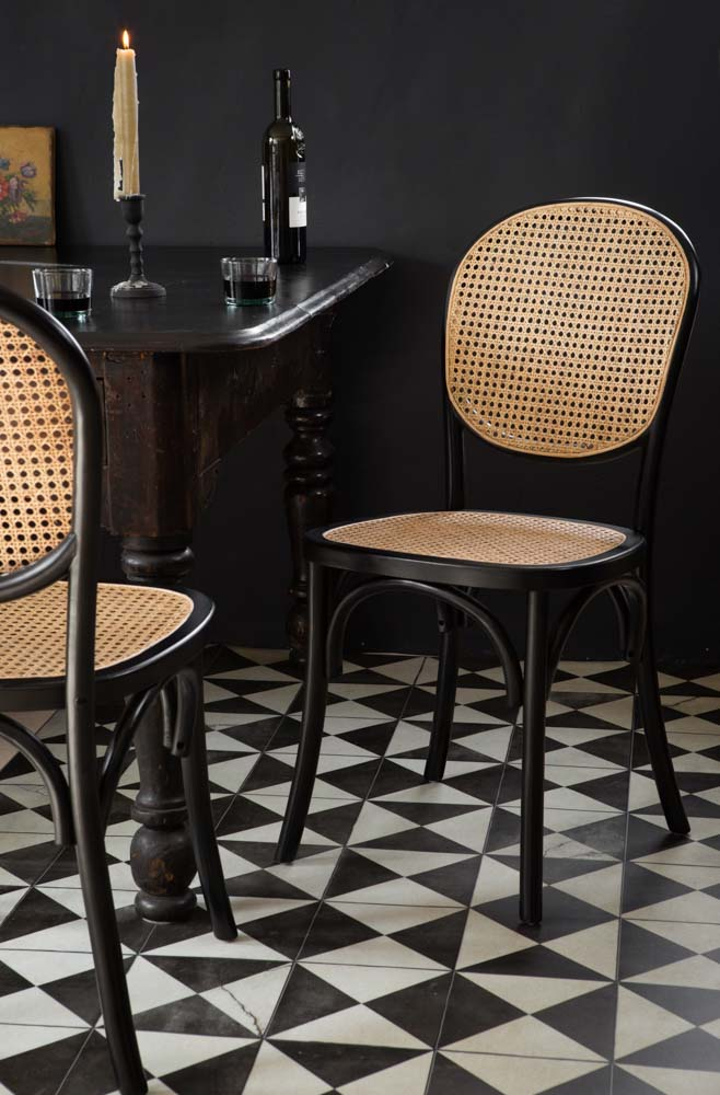Chez Pitou Black Wood Woven Cane Dining Chair Rockett St George