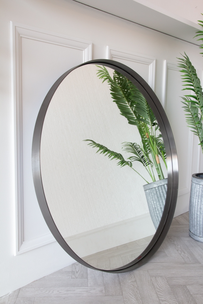Large Round Mirror With Brushed Steel Surround Rockett St George