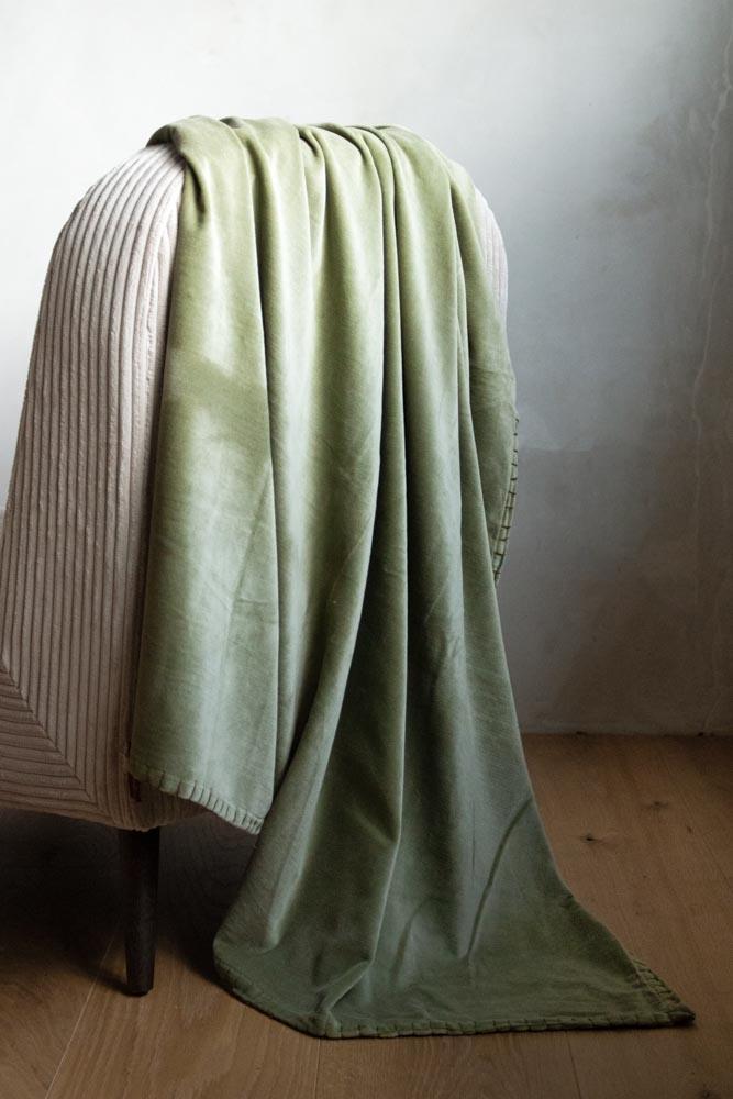 Moss Green Velvet Throw Rockett St George, Moss Green Velvet Bedding