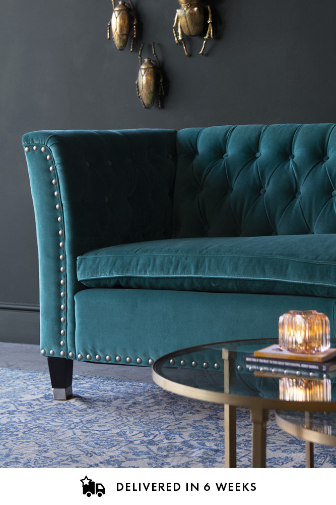 Teal Velvet Chesterfield Sofa With Stud Detail Rockett St George