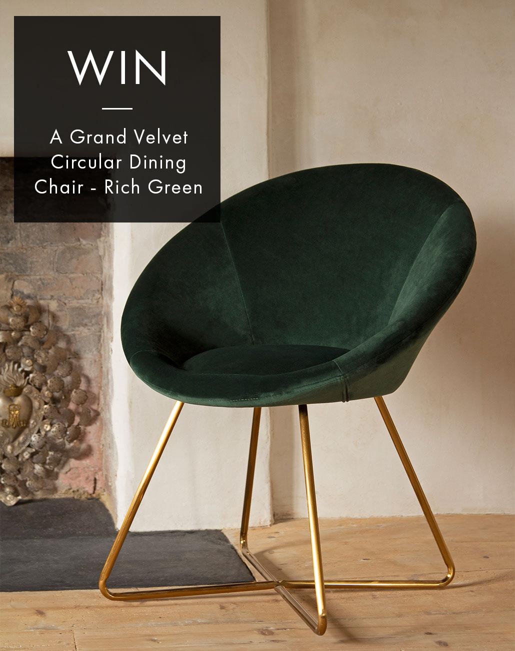 WIN: 1 x The Grand Circular Velvet Dining Chair - Rich Green